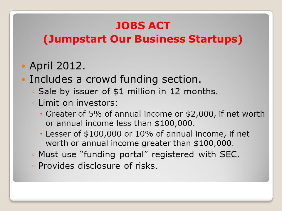 JOBS ACT (Jumpstart Our Business Startups) April 2012.