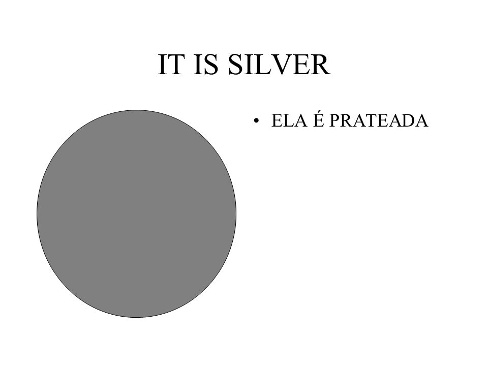 IT IS SILVER ELA É PRATEADA