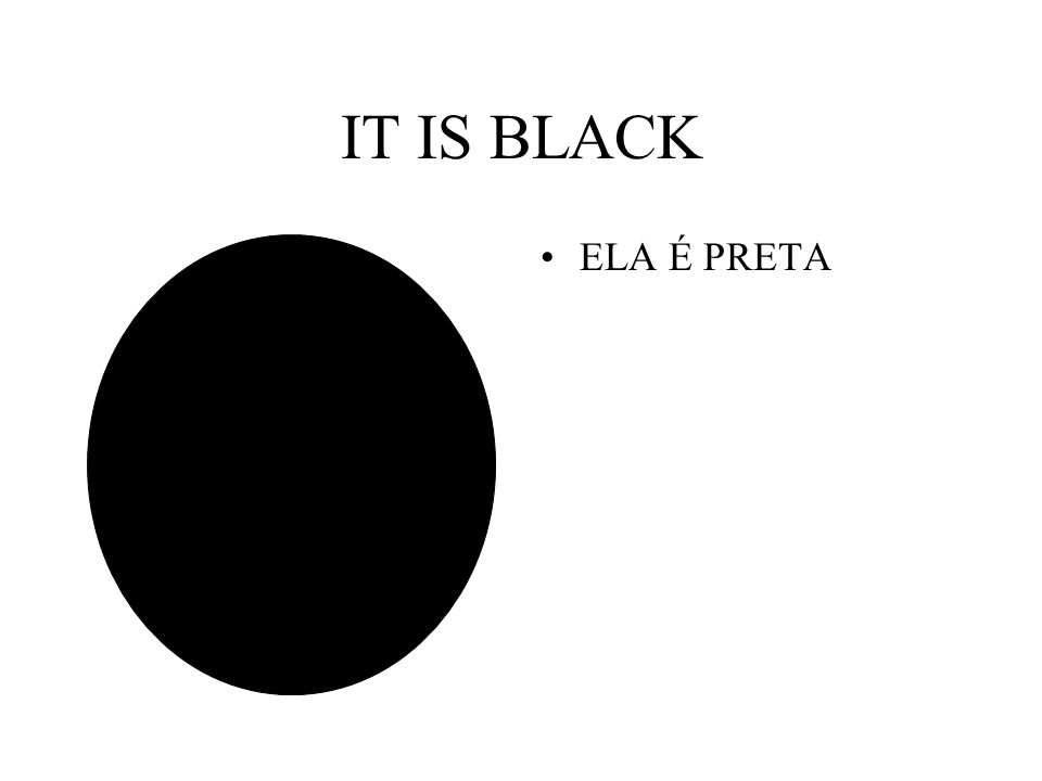 IT IS BLACK ELA É PRETA