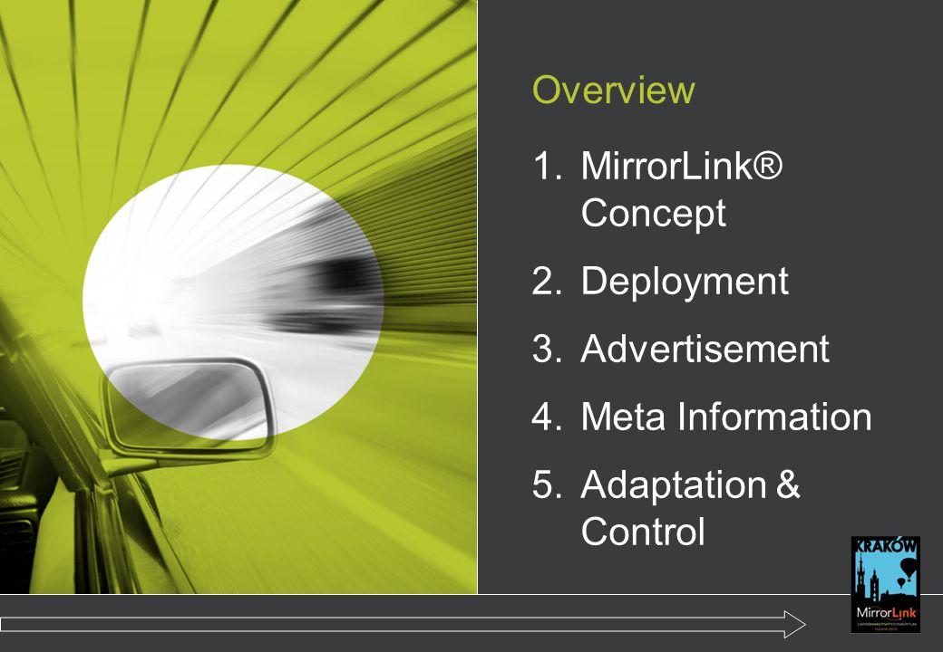 Overview 1.MirrorLink® Concept 2.Deployment 3.Advertisement 4.Meta Information 5.Adaptation & Control