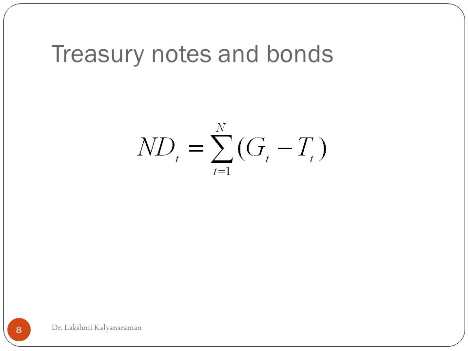 Treasury notes and bonds Dr. Lakshmi Kalyanaraman 8