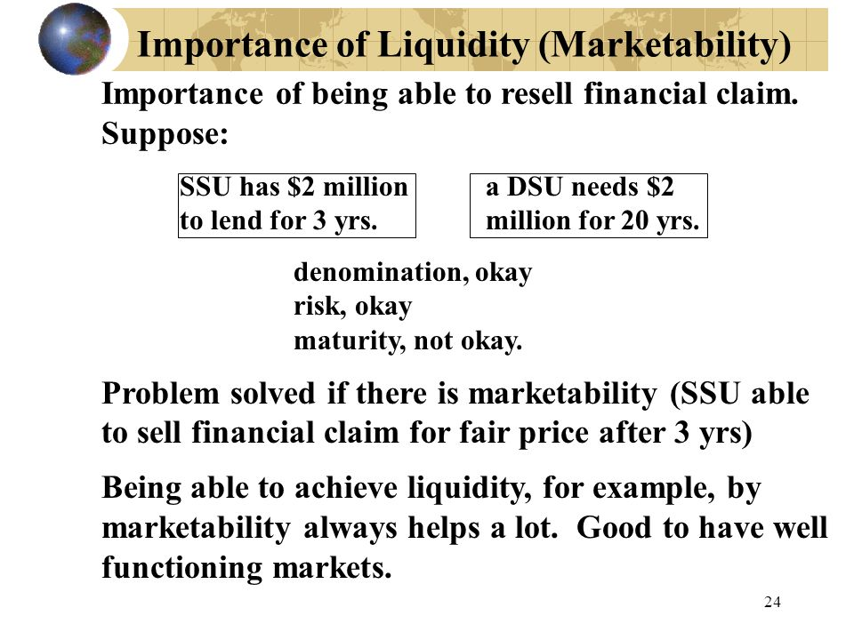 Importance of Liquidity (Marketability) Importance of being able to resell financial claim.