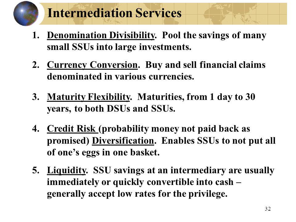 Intermediation Services 1.Denomination Divisibility.