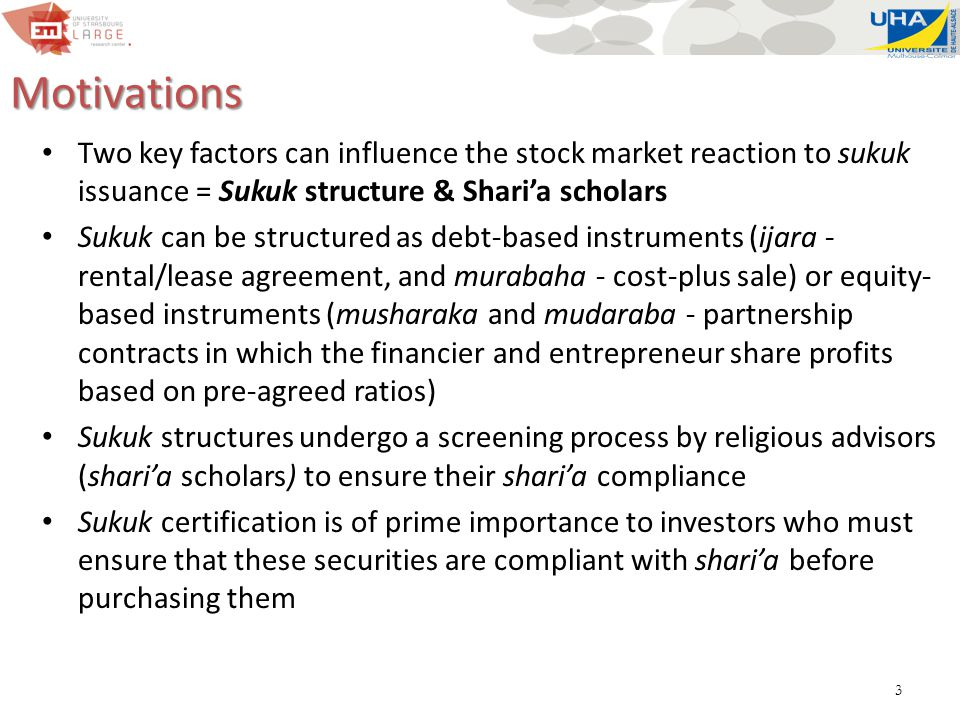 4 Objective & Implications Primary focus = investigate how the features of sukuk influence the stock market reaction to their issuance We measure abnormal stock returns of listed companies that issued 131 sukuk between 2006 and 2013 across eight countries We examine how the sukuk type, characteristics of shari'a scholars, and their interaction influence the stock market reaction Identifying value-enhancing sukuk characteristics will help shape the design of these instruments to favor better firm market valuation This evidence gives insights about the evolution of sukuk in the future