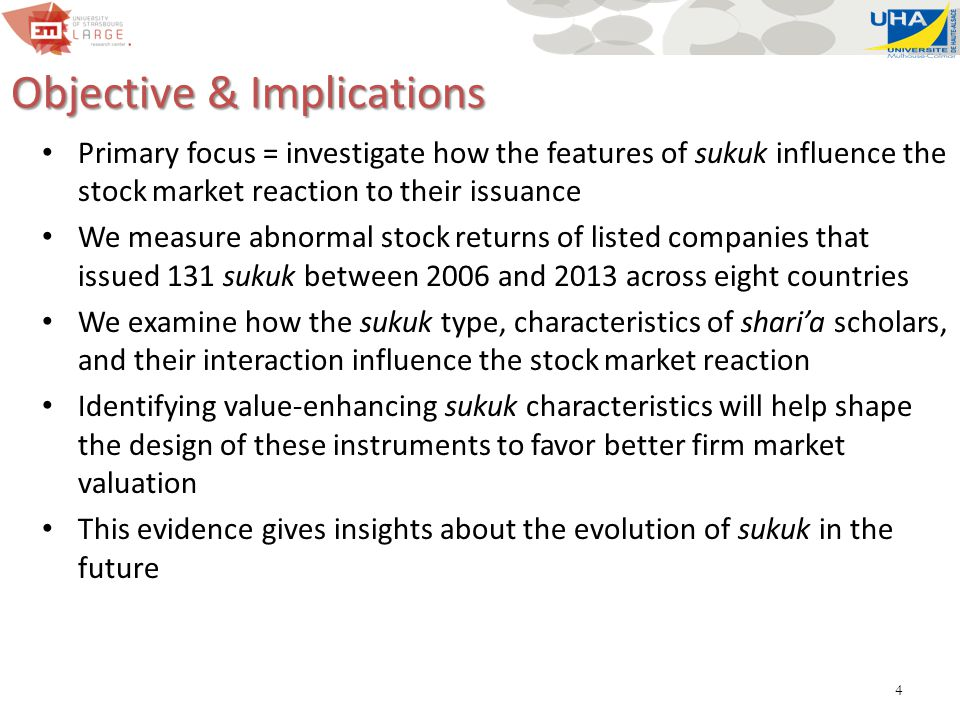 5 Hypotheses Ijara-based sukuk remain largely non-controversial H1: the CAR from issuing Ijara-based sukuk are higher than for other types of sukuk Auditor literature: information asymmetry between auditor and client is reduced with longer auditor tenure (gradual accumulation of critical knowledge) Shari'a scholars are likely to build expertise as they endorse a larger number of issues H2: the longer the tenure of shari'a scholars, the greater the CAR for the sukuk issuer