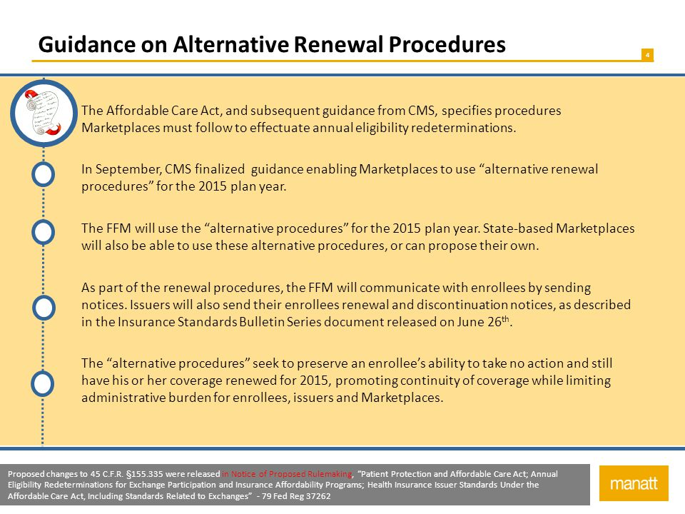 4 Guidance on Alternative Renewal Procedures The Affordable Care Act, and subsequent guidance from CMS, specifies procedures Marketplaces must follow to effectuate annual eligibility redeterminations.