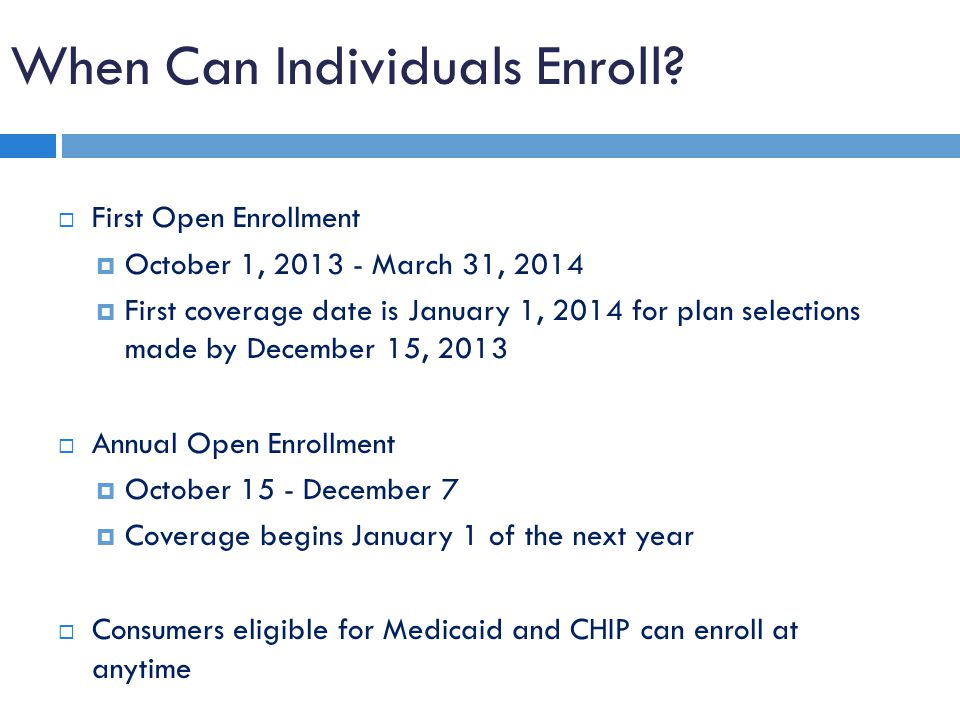 When Can Individuals Enroll.
