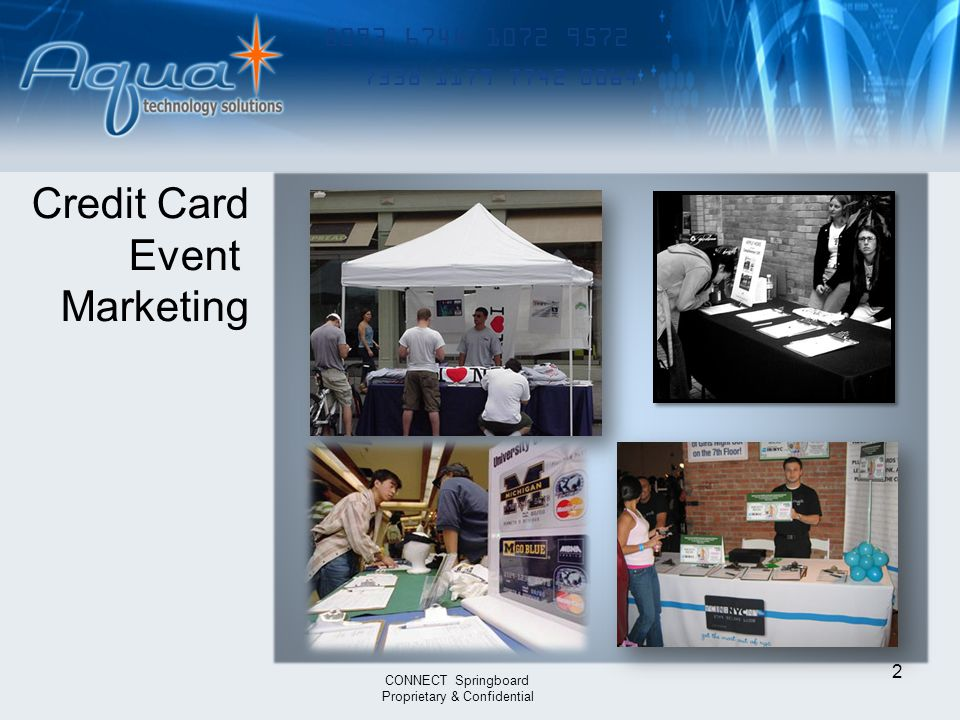 8093 6744 1072 9572 7338 1179 7742 0064 2 CONNECT Springboard Proprietary & Confidential Credit Card Event Marketing