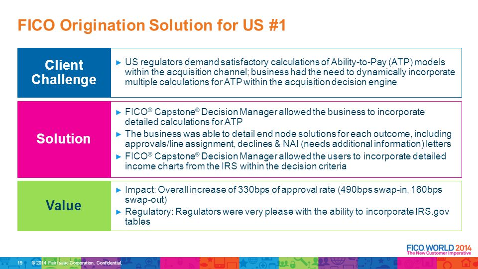 © 2014 Fair Isaac Corporation. Confidential. FICO Origination Solution for US #1 ► US regulators demand satisfactory calculations of Ability-to-Pay (A