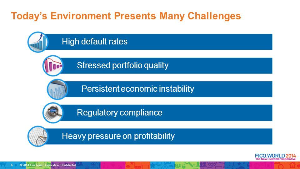 © 2014 Fair Isaac Corporation. Confidential. High default rates Stressed portfolio quality Persistent economic instability Regulatory compliance Heavy
