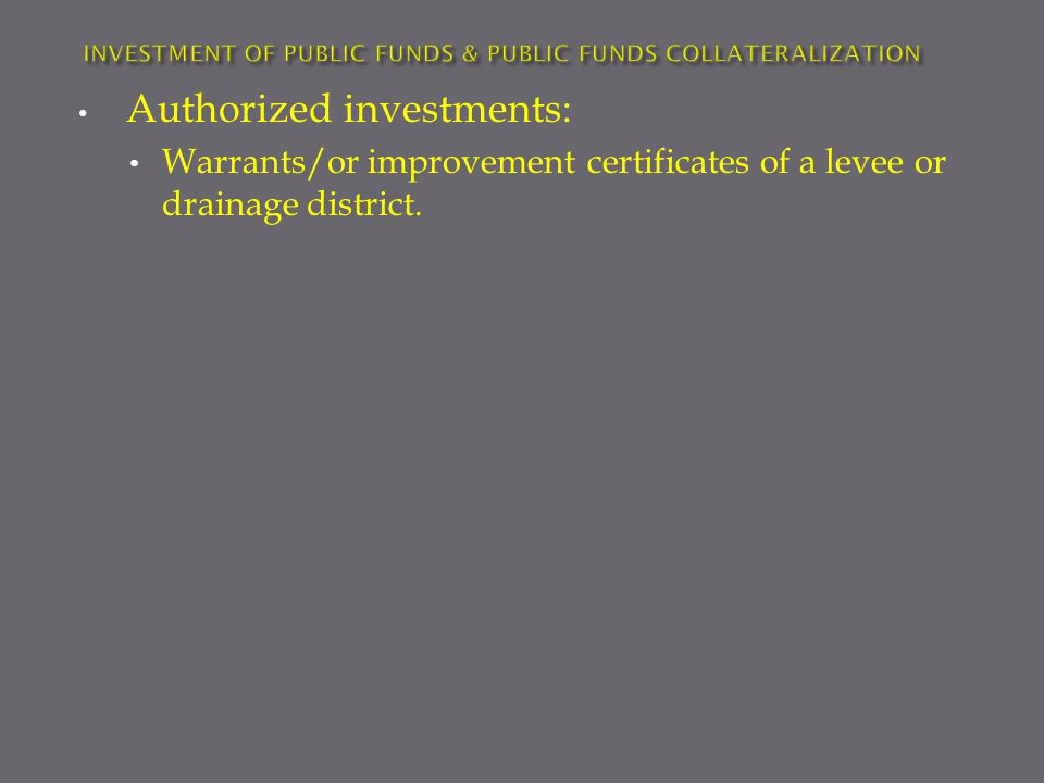 Authorized investments: Warrants/or improvement certificates of a levee or drainage district.