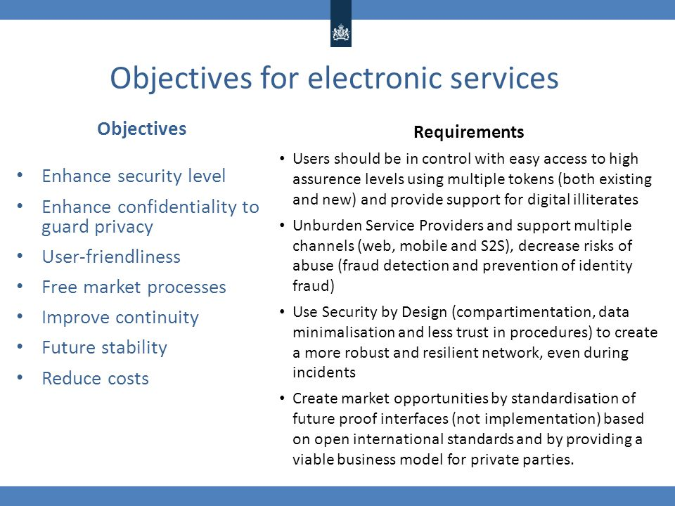 Objectives for electronic services Objectives Enhance security level Enhance confidentiality to guard privacy User-friendliness Free market processes