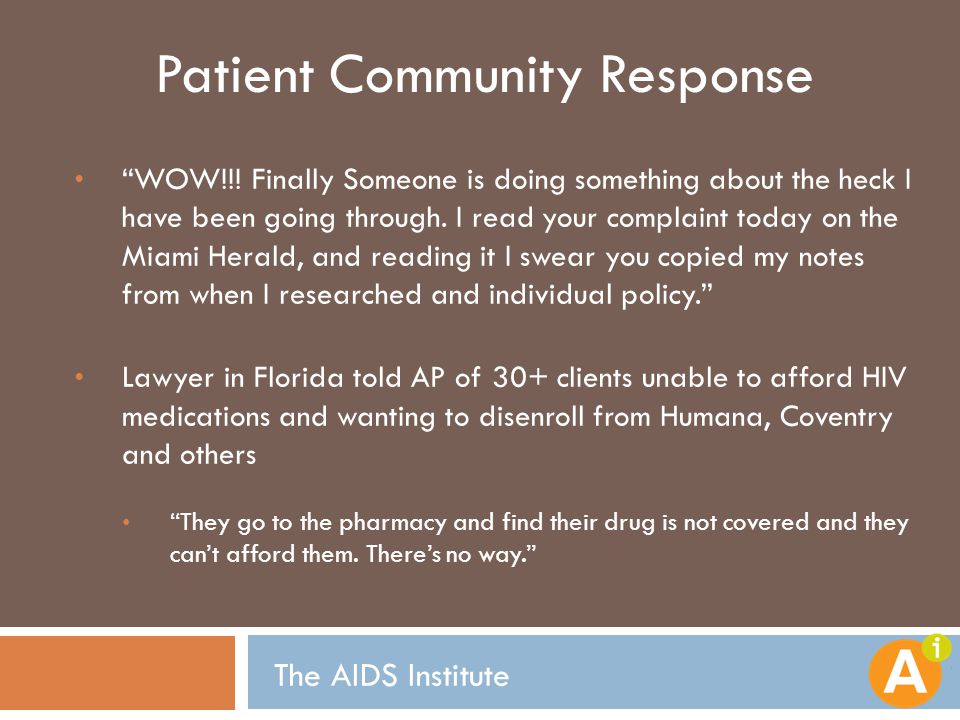 """Patient Community Response """"WOW!!! Finally Someone is doing something about the heck I have been going through. I read your complaint today on the Mia"""