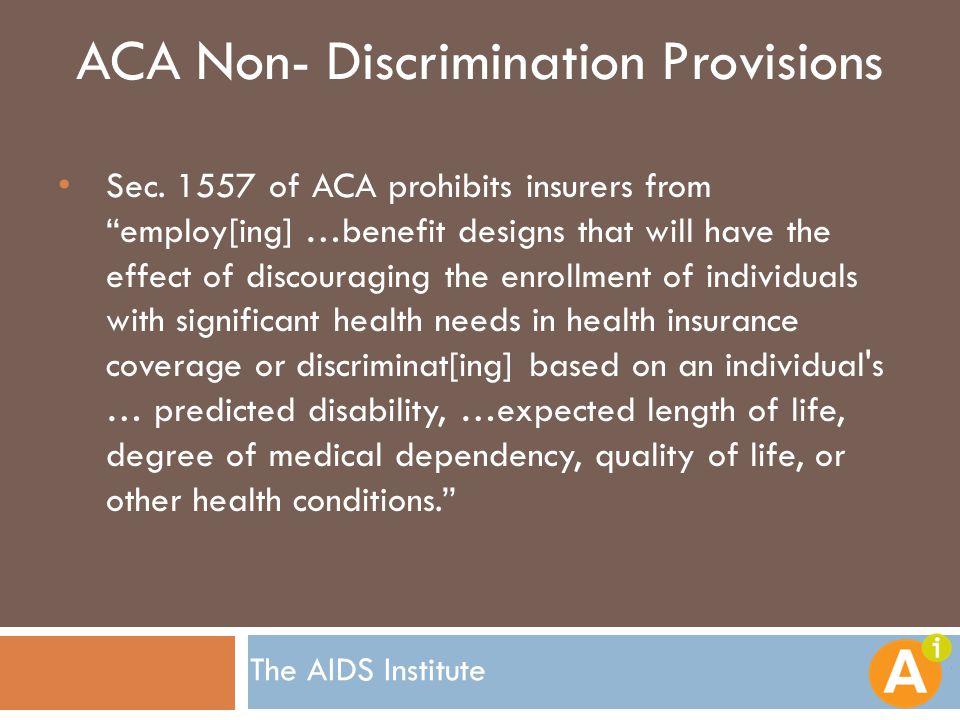 ACA Non- Discrimination Provisions Sec.
