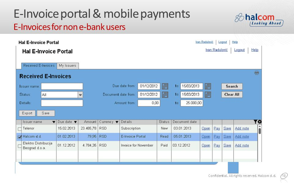 18 E-Invoice portal & mobile payments E-Invoices for non e-bank users Confidential.