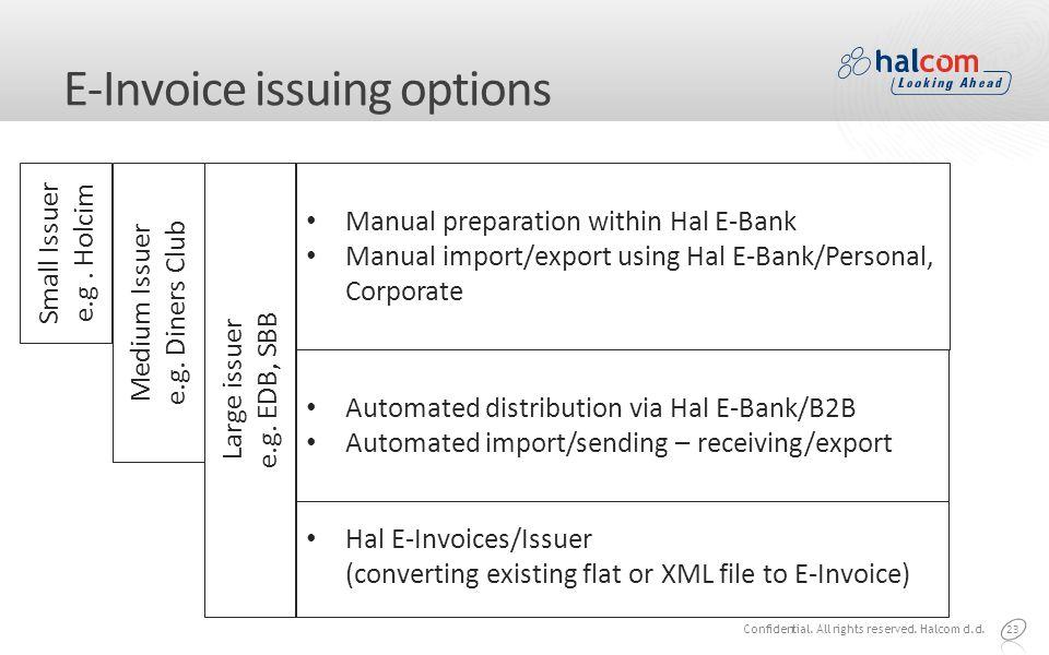 E-Invoice issuing options 23 Small Issuer e.g. Holcim Medium Issuer e.g.