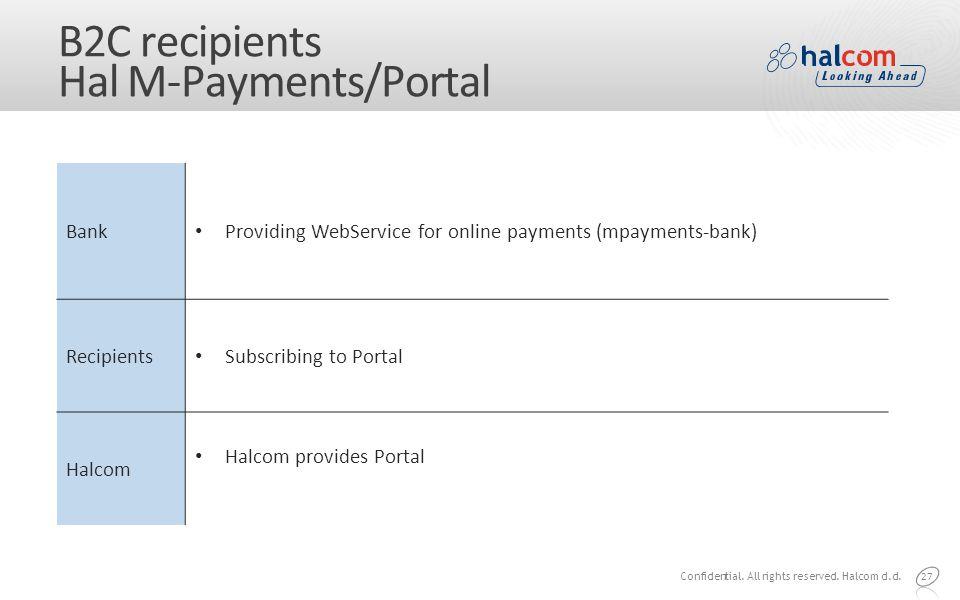 B2C recipients Hal M-Payments/Portal 27 Bank Providing WebService for online payments (mpayments-bank) Recipients Subscribing to Portal Halcom Halcom provides Portal Confidential.