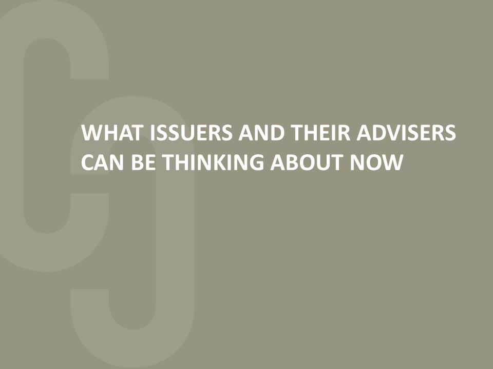WHAT ISSUERS AND THEIR ADVISERS CAN BE THINKING ABOUT NOW