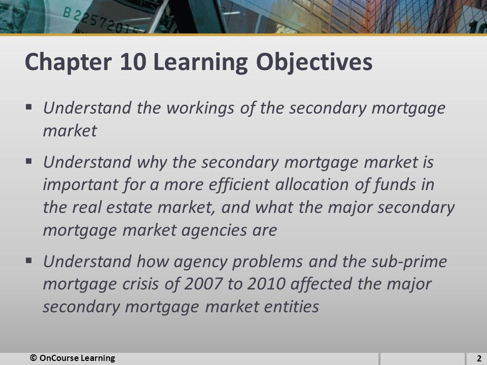 Chapter 10 Learning Objectives  Understand the workings of the secondary mortgage market  Understand why the secondary mortgage market is important