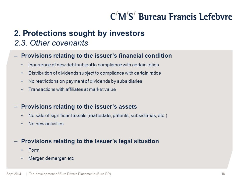 | 2.Protections sought by investors 2.3.
