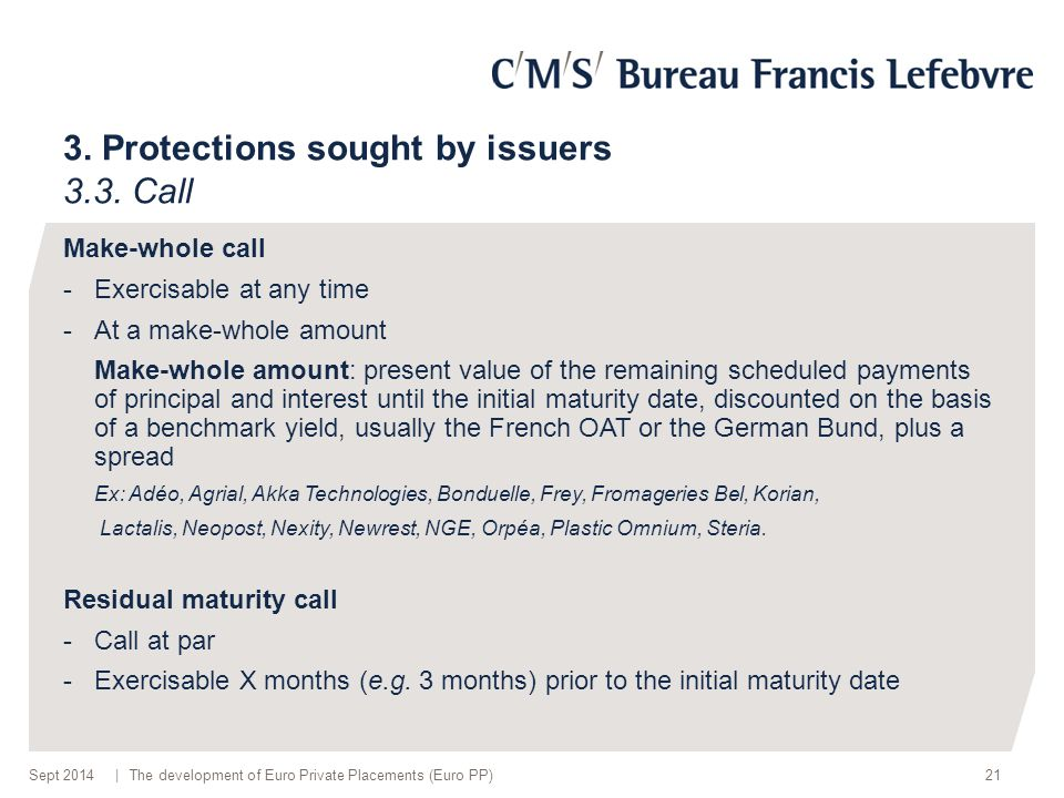 | 3. Protections sought by issuers 3.3.