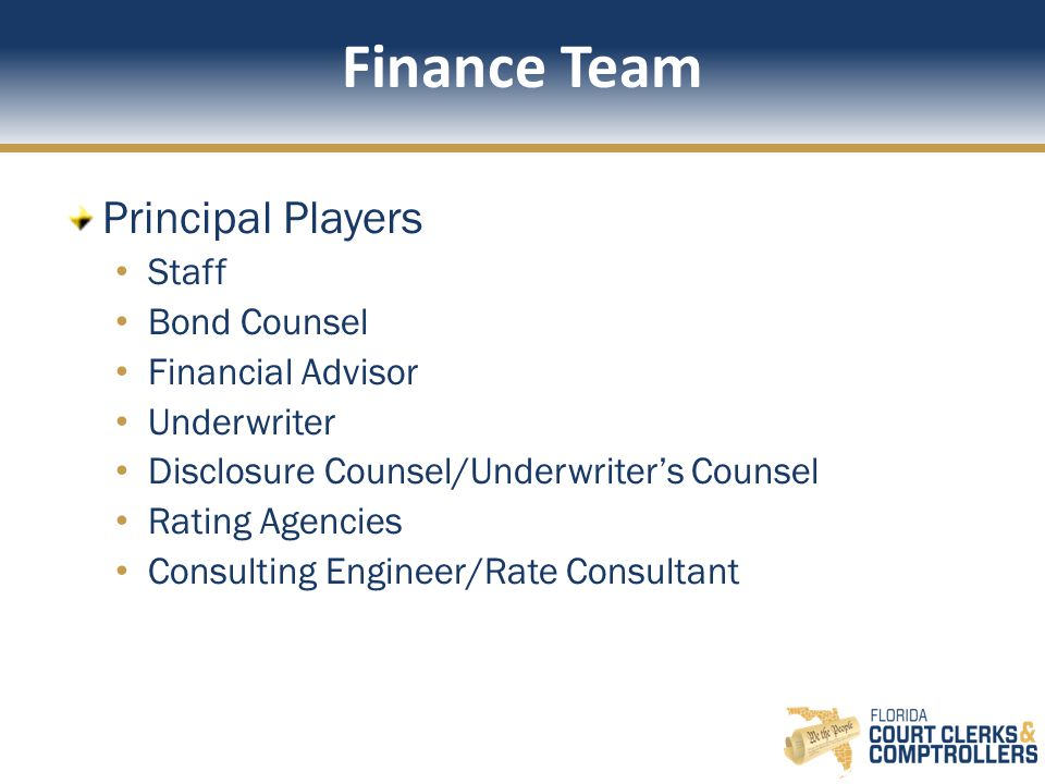 Finance Team Principal Players Staff Bond Counsel Financial Advisor Underwriter Disclosure Counsel/Underwriter's Counsel Rating Agencies Consulting Engineer/Rate Consultant