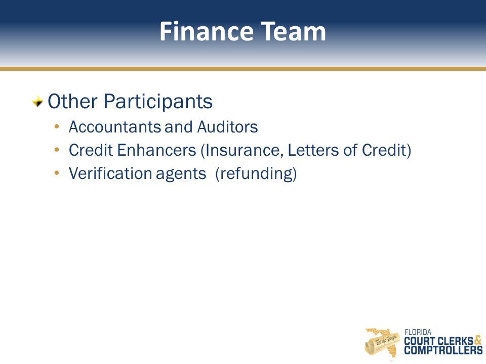Finance Team Other Participants Accountants and Auditors Credit Enhancers (Insurance, Letters of Credit) Verification agents (refunding)