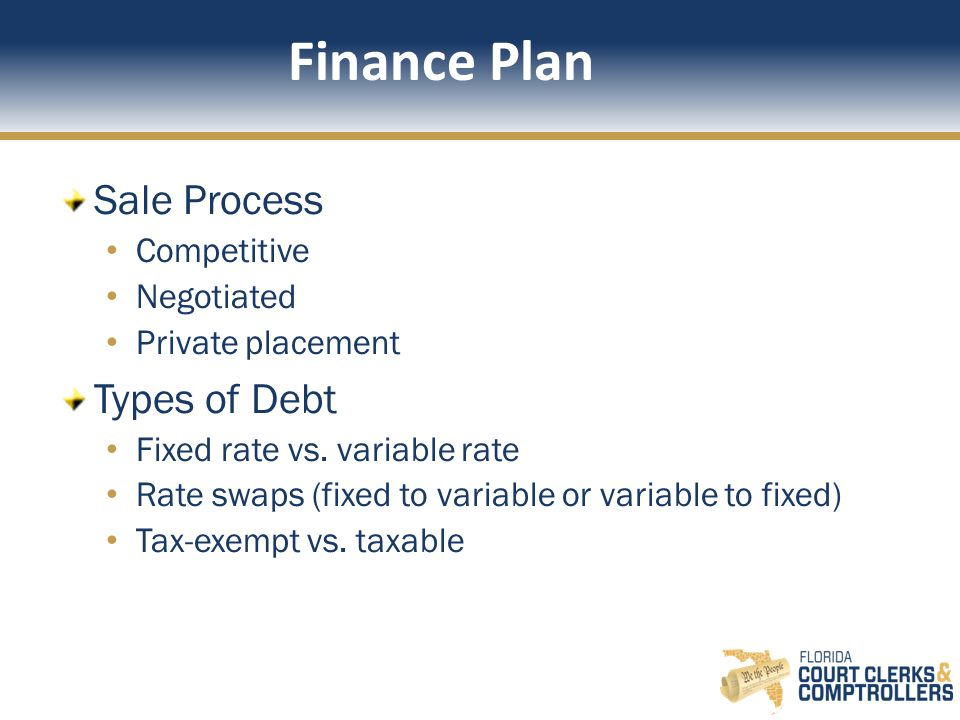 Finance Plan Sale Process Competitive Negotiated Private placement Types of Debt Fixed rate vs.