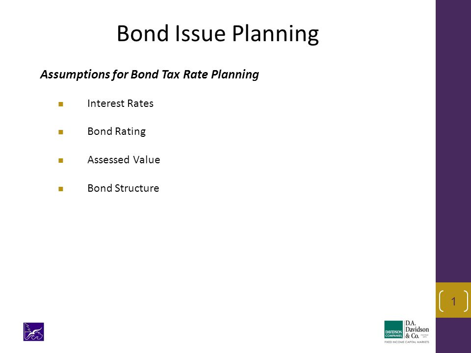 Assumptions for Bond Tax Rate Planning Interest Rates Bond Rating Assessed Value Bond Structure 1 Bond Issue Planning