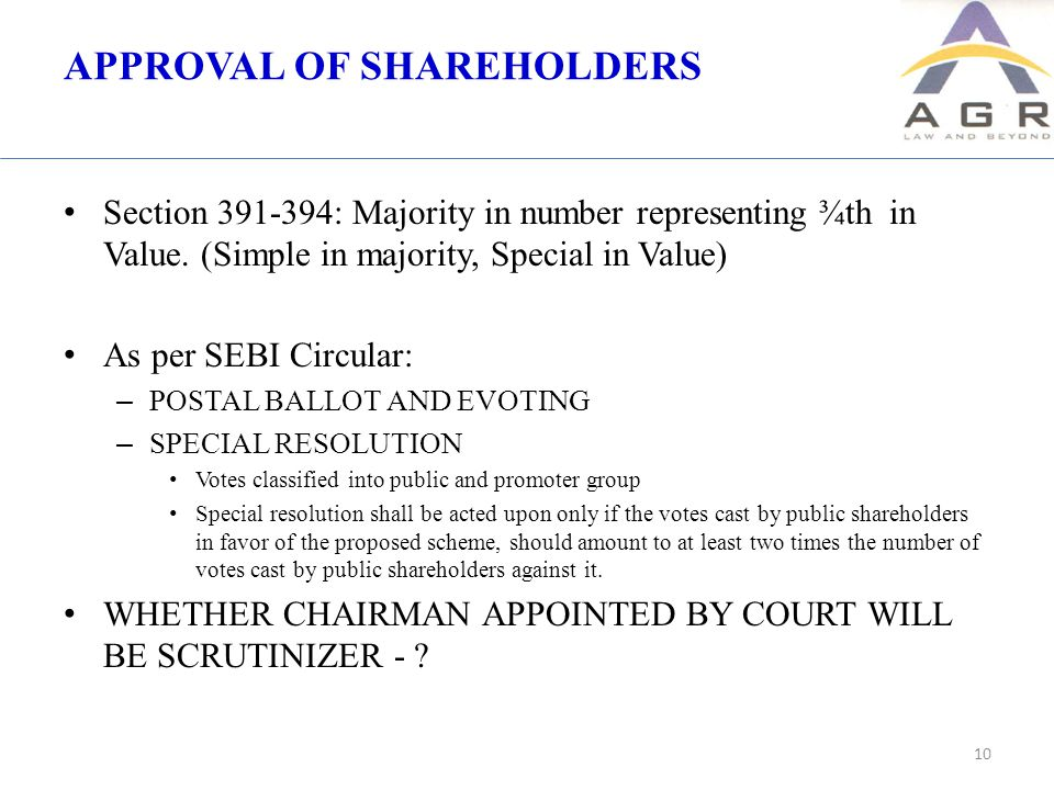 APPROVAL OF SHAREHOLDERS Section 391-394: Majority in number representing ¾th in Value.