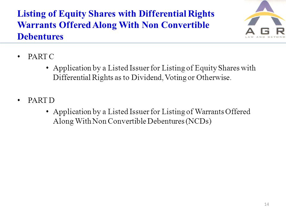 Listing of Equity Shares with Differential Rights Warrants Offered Along With Non Convertible Debentures PART C Application by a Listed Issuer for Listing of Equity Shares with Differential Rights as to Dividend, Voting or Otherwise.