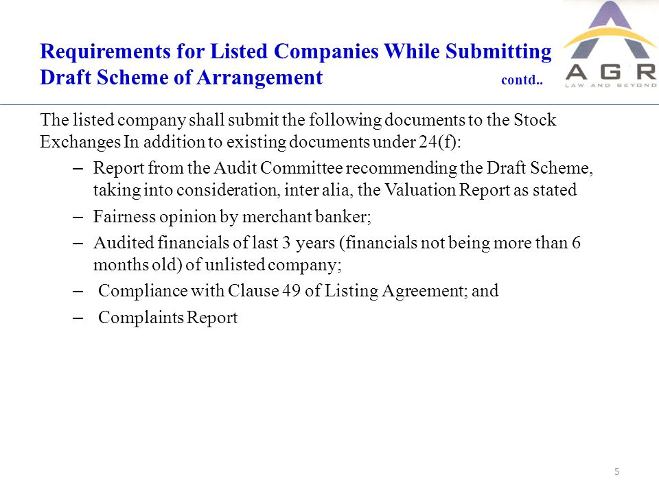 Requirements for Listed Companies While Submitting Draft Scheme of Arrangement contd..