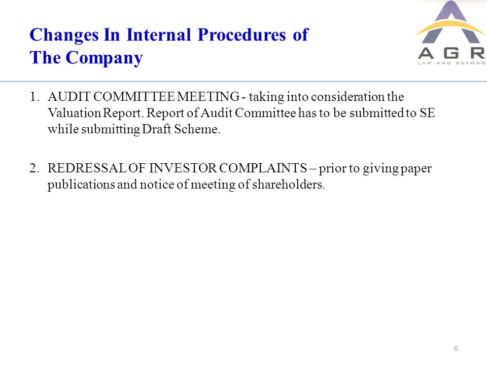 Changes In Internal Procedures of The Company 1.AUDIT COMMITTEE MEETING - taking into consideration the Valuation Report.