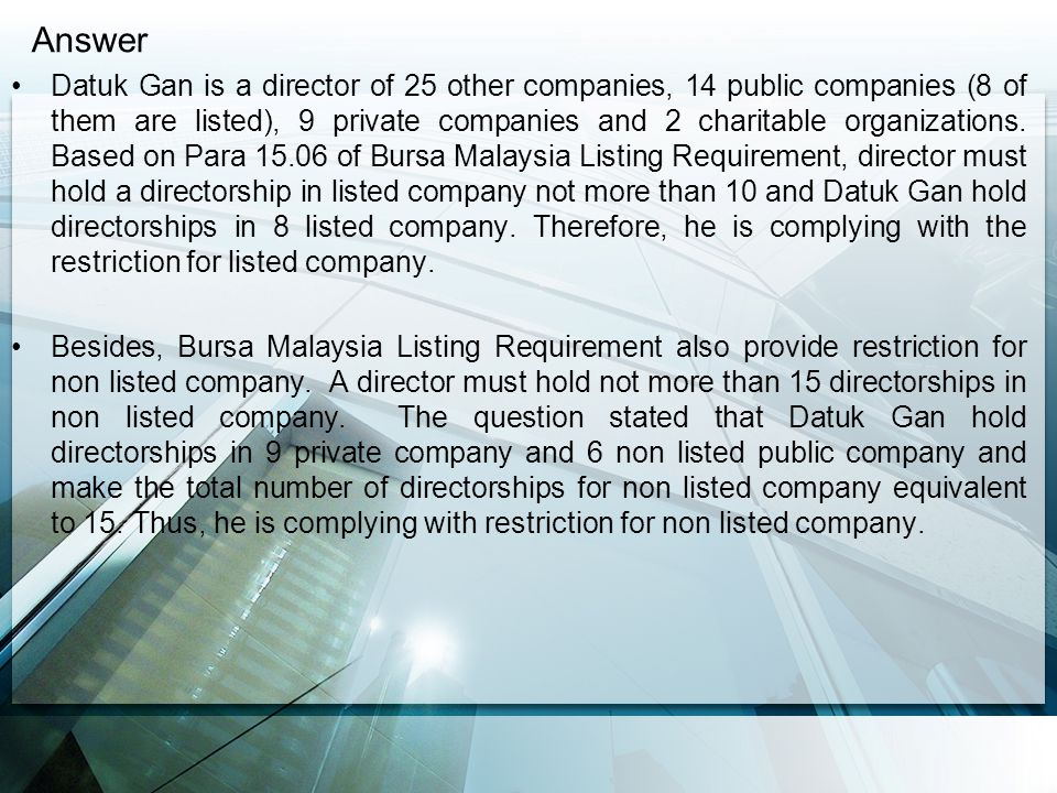 Practice Note 13 of Bursa Malaysia Securities Berhad [Para 9.1 (a)] highlighted that directorship in a non-profit organization is to be excluded from the computation of the number of directorship.