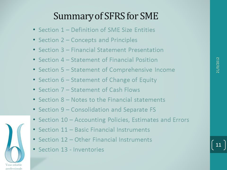 Summary of SFRS for SME Section 1 – Definition of SME Size Entities Section 2 – Concepts and Principles Section 3 – Financial Statement Presentation S