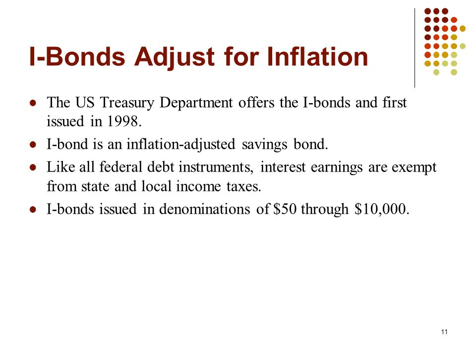 I-Bonds Adjust for Inflation The US Treasury Department offers the I-bonds and first issued in 1998.
