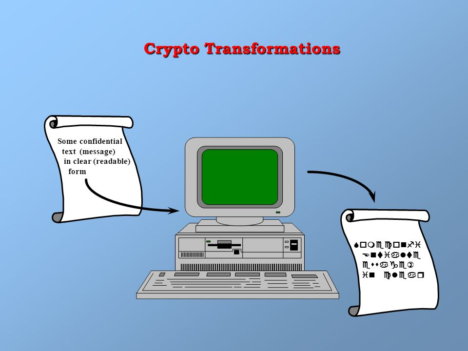 Some confidential text (message) in clear (readable) form Crypto Transformations Someconfi  Entialte  essage)  in clear