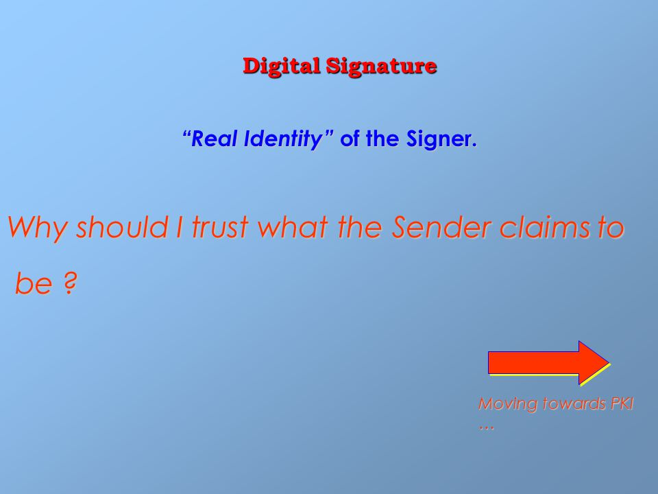 Real Identity of the Signer. Why should I trust what the Sender claims to be .