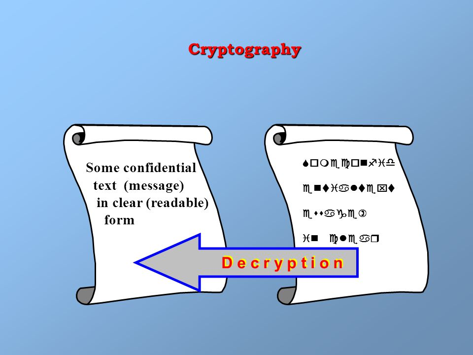 Some confidential text (message) in clear (readable) form D e c r y p t i o n Someconfid entialtext essage) in clear Cryptography