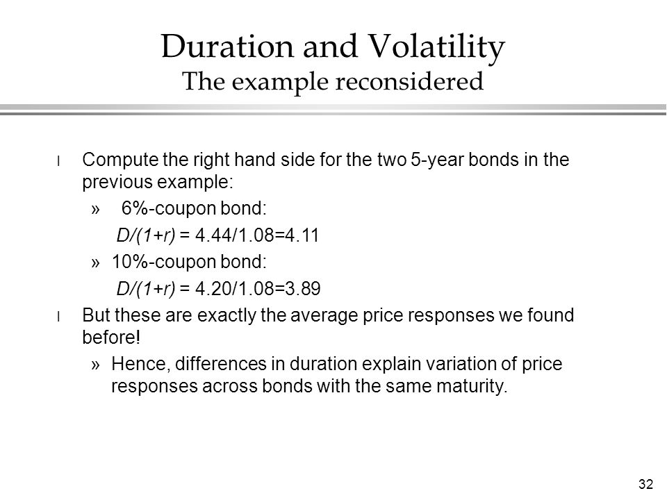 32 Duration and Volatility The example reconsidered l Compute the right hand side for the two 5-year bonds in the previous example: » 6%-coupon bond: D/(1+r) = 4.44/1.08=4.11 »10%-coupon bond: D/(1+r) = 4.20/1.08=3.89 l But these are exactly the average price responses we found before.