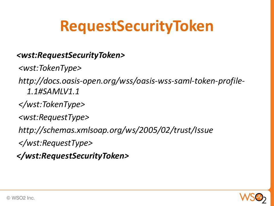 RequestSecurityToken http://docs.oasis-open.org/wss/oasis-wss-saml-token-profile- 1.1#SAMLV1.1 http://schemas.xmlsoap.org/ws/2005/02/trust/Issue
