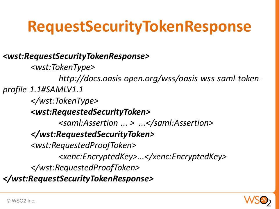 RequestSecurityTokenResponse http://docs.oasis-open.org/wss/oasis-wss-saml-token- profile-1.1#SAMLV1.1......