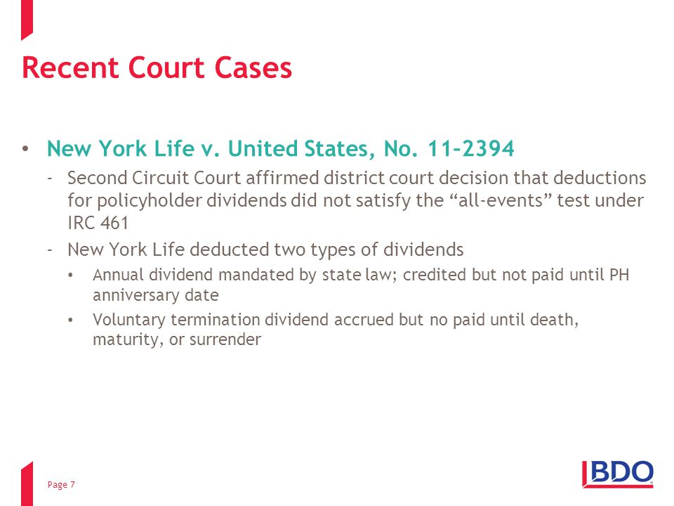 Recent Court Cases New York Life v. United States, No.
