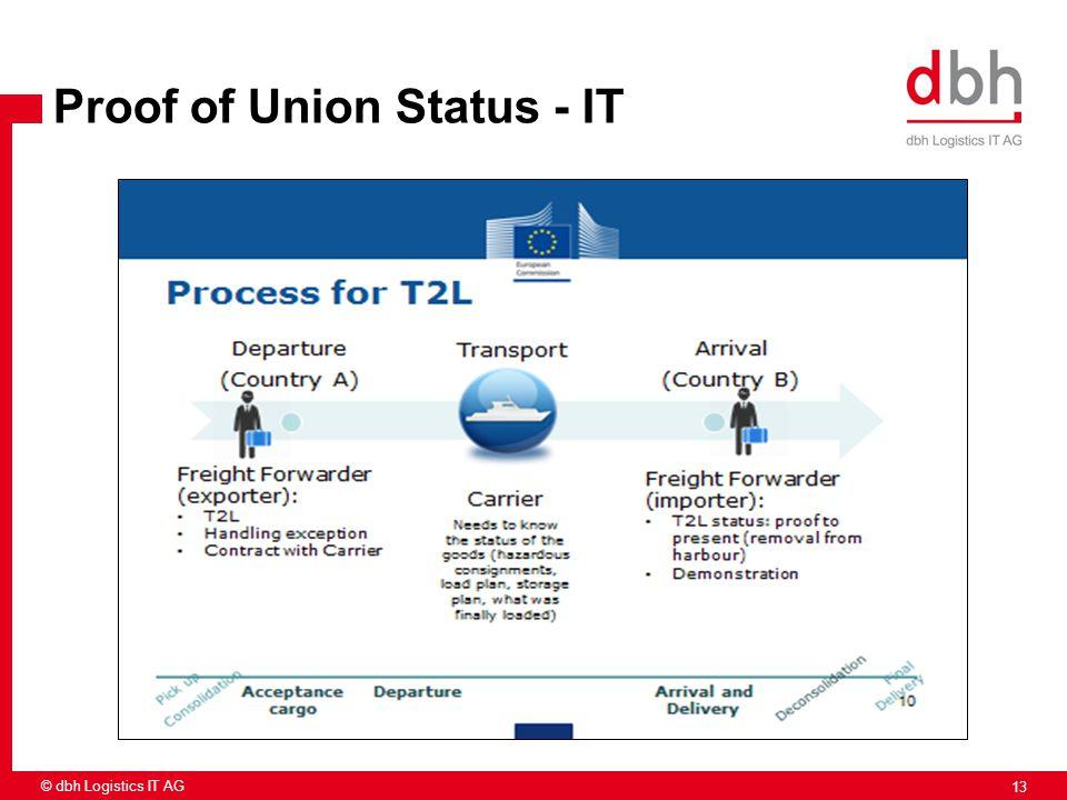 13 © dbh Logistics IT AG Proof of Union Status - IT