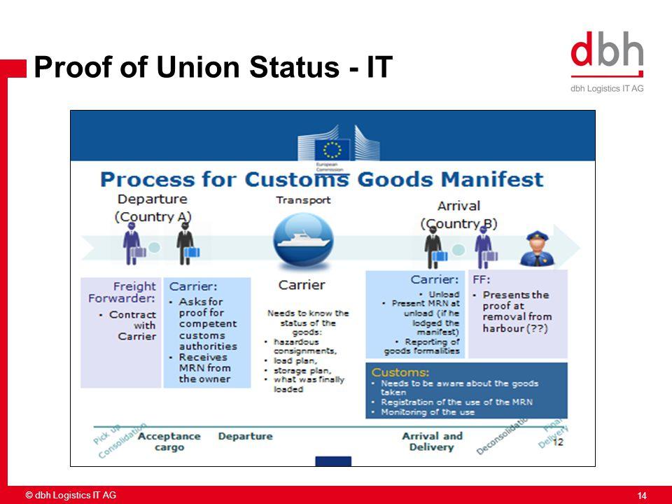 14 © dbh Logistics IT AG Proof of Union Status - IT