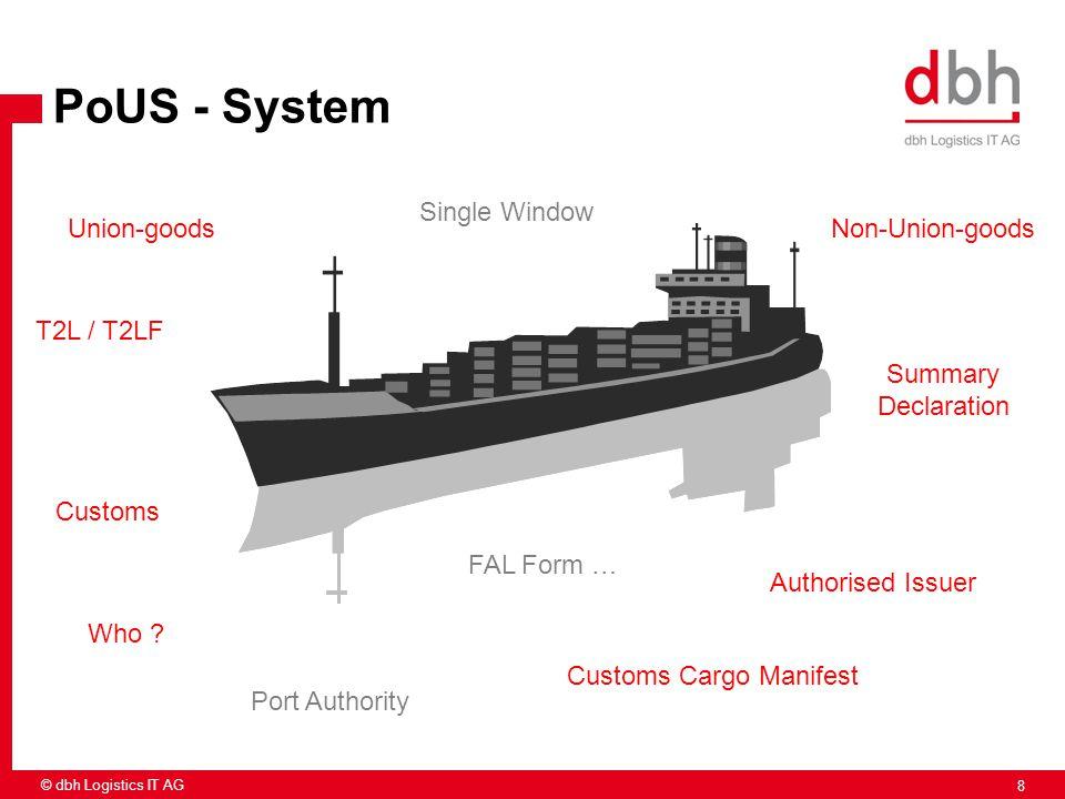 8 © dbh Logistics IT AG Union-goodsNon-Union-goods Customs Cargo Manifest Who ? Authorised Issuer FAL Form … T2L / T2LF Summary Declaration Single Win