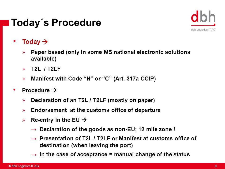 9 © dbh Logistics IT AG Today´s Procedure Today  »Paper based (only in some MS national electronic solutions available) »T2L / T2LF »Manifest with Co
