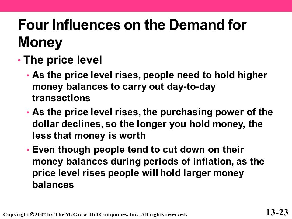 Four Influences on the Demand for Money The price level As the price level rises, people need to hold higher money balances to carry out day-to-day tr