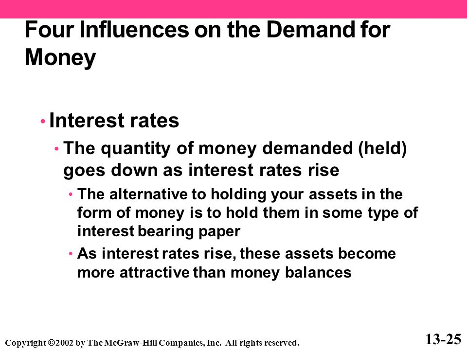 Four Influences on the Demand for Money Interest rates The quantity of money demanded (held) goes down as interest rates rise The alternative to holdi