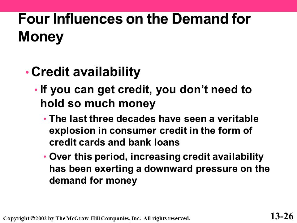 Four Influences on the Demand for Money Credit availability If you can get credit, you don't need to hold so much money The last three decades have se